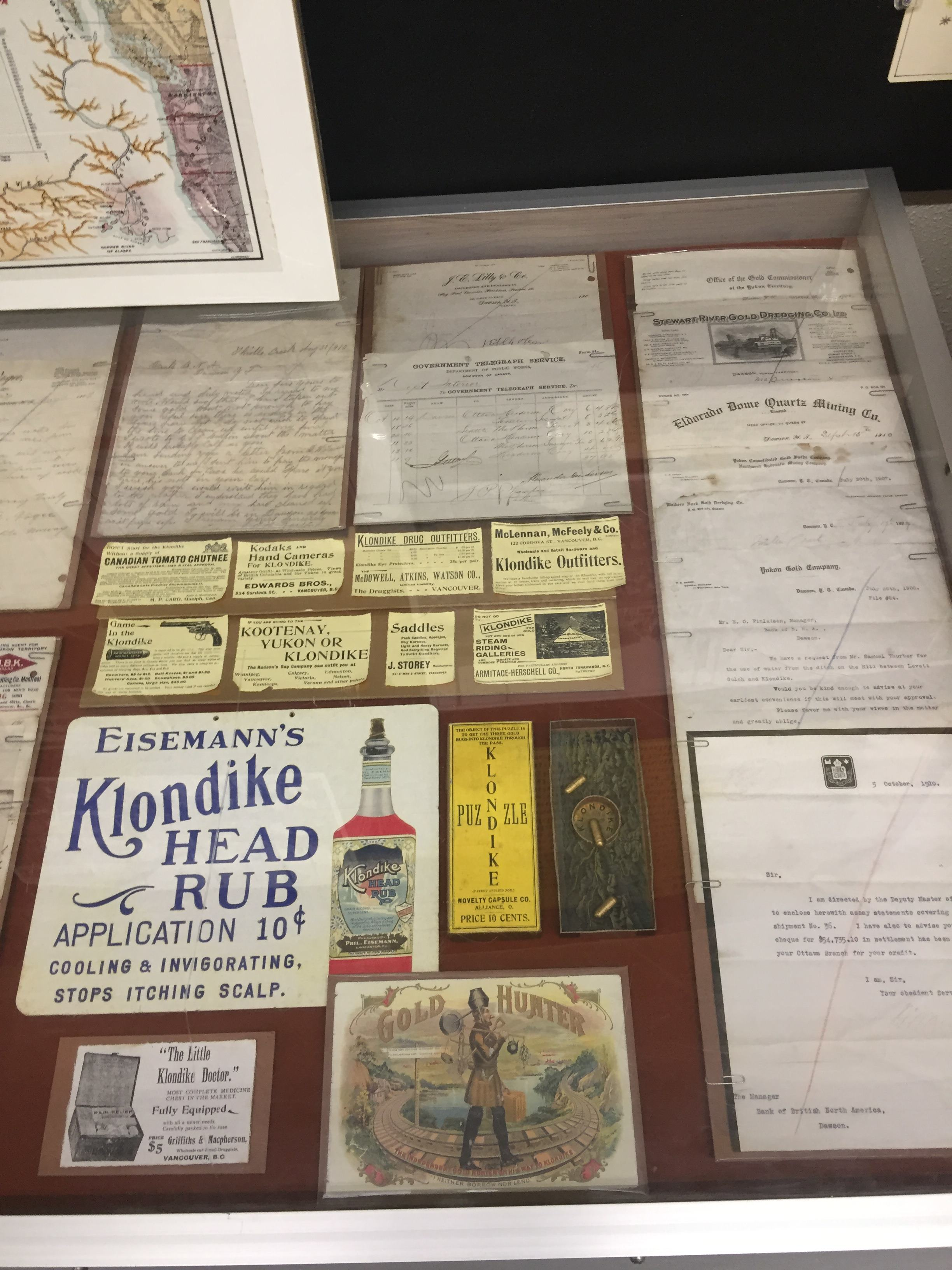 Sometimes the products had no obvious connection with the Klondike, like the head rub. And sometimes they did, like the medicine chest which seems to be aimed at stampeders.